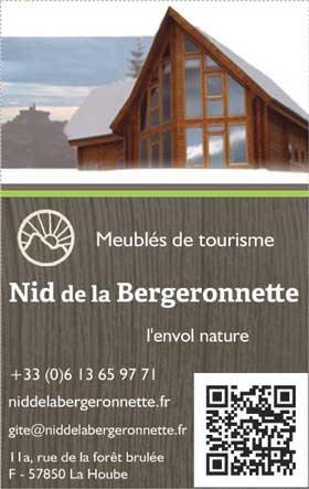 Carte de visite du Gite Nid de la Bergeronnette en Alsace Moselle